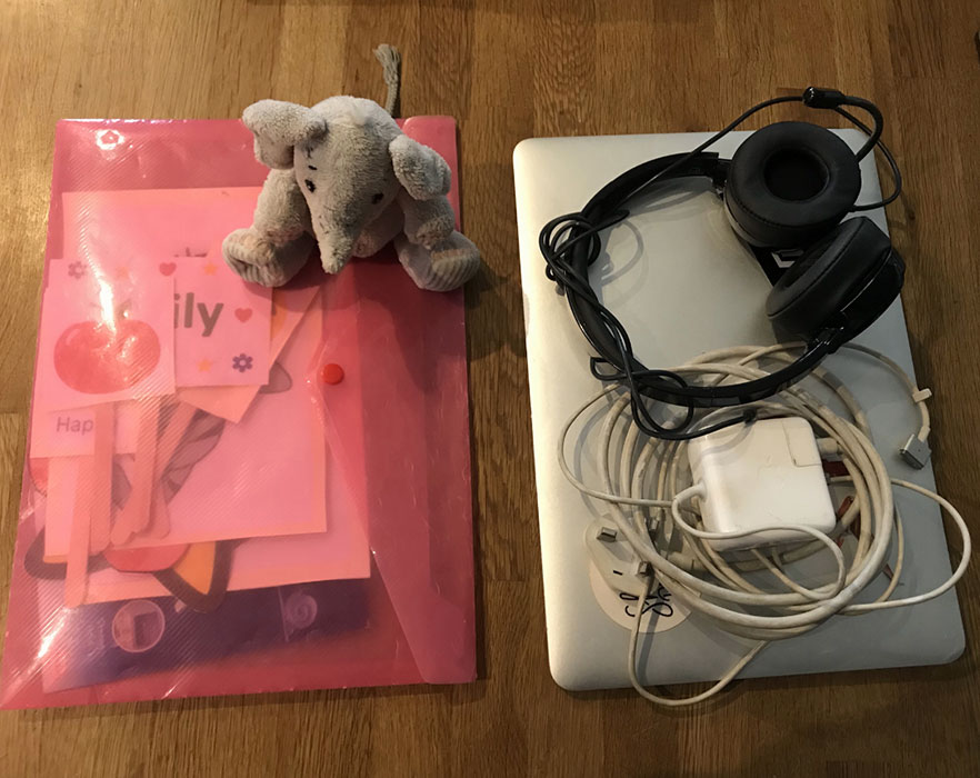 Laptop, headset and props