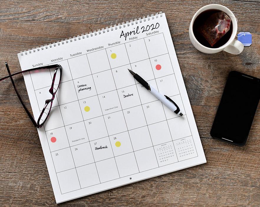 Online teacher calendar