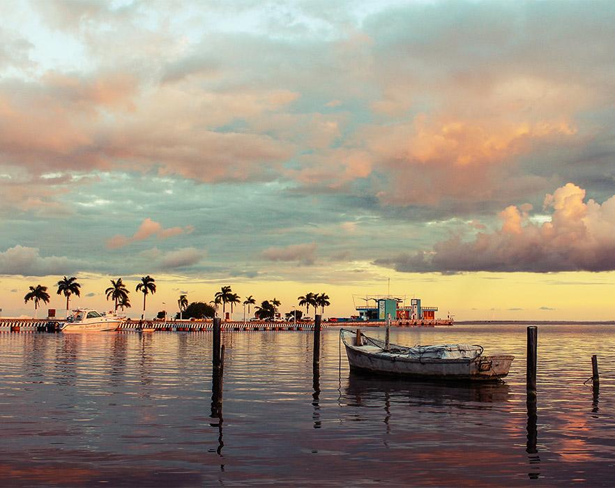Sunset at Chetumal, Mexico
