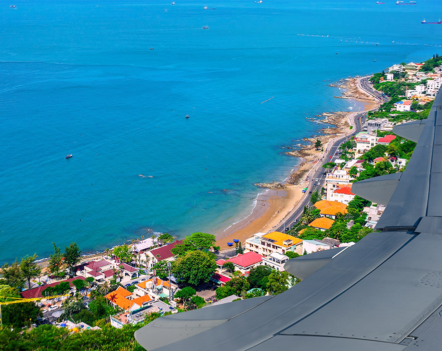 View from plane of Vũng Tàu, Vietnam
