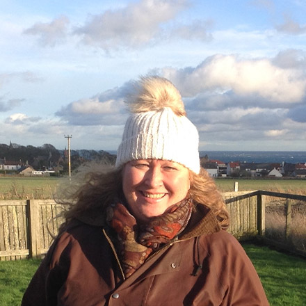Gill in woolly hat in Scotland