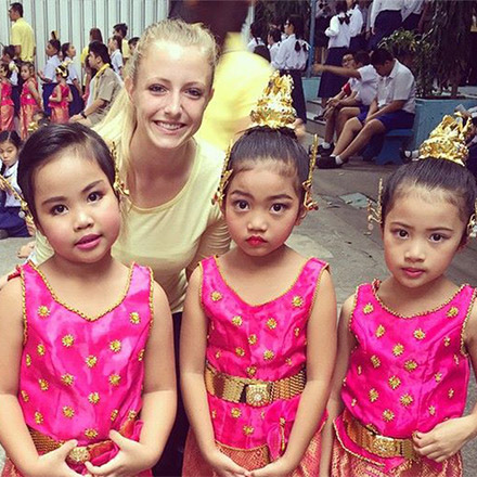 Laura with her Thai students