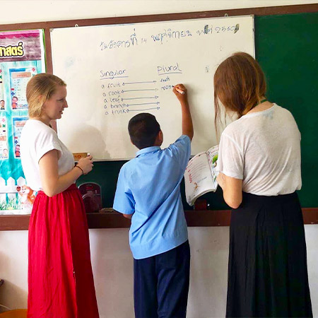 TEFL teachers at the front of classroom with student