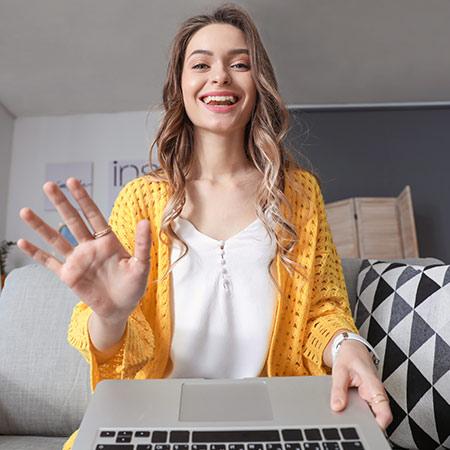 Girl doing online teaching practice session