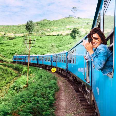 Woman on train travelling