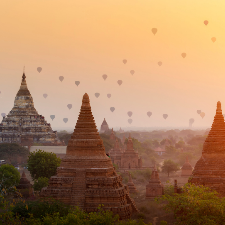 Hot air balloons over the temples