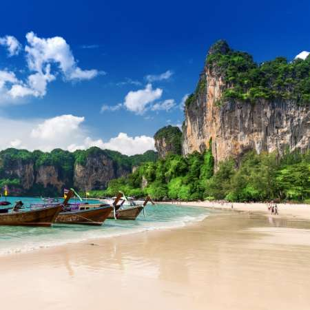 Thailand beach with boats