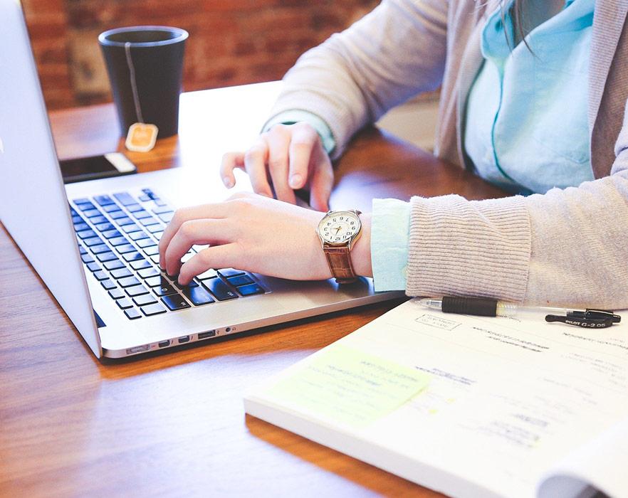 a woman teaching online