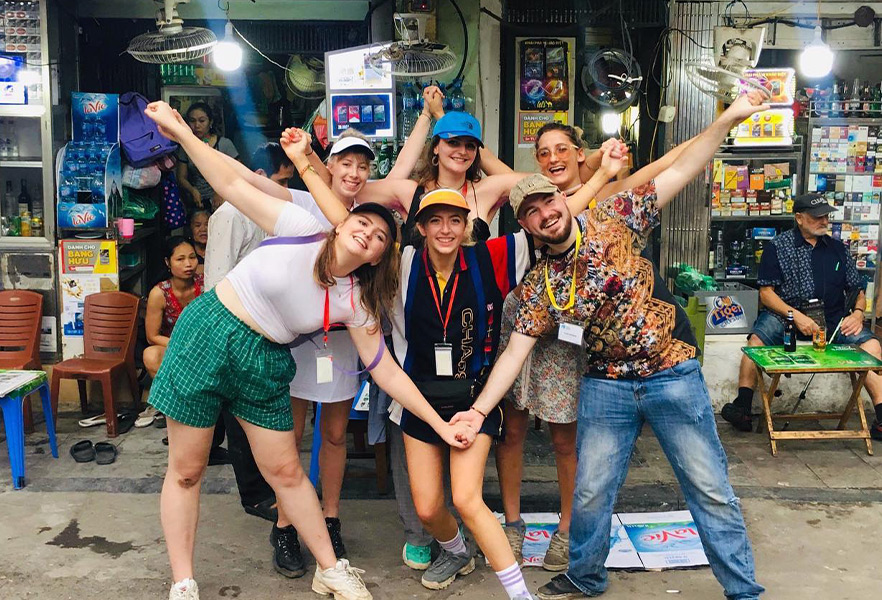 Molly and friends in Vietnamese street
