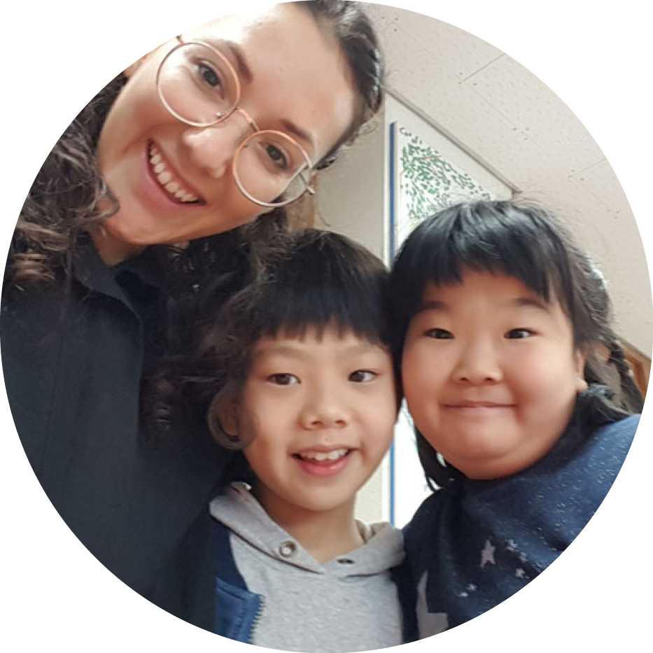 TEFL teacher with students in South Korea