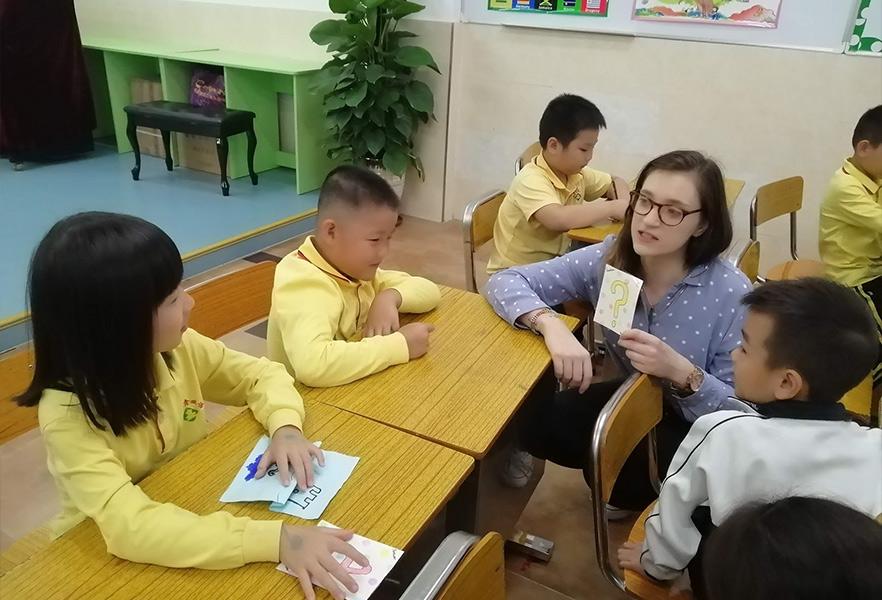 Aileen teaching English abroad