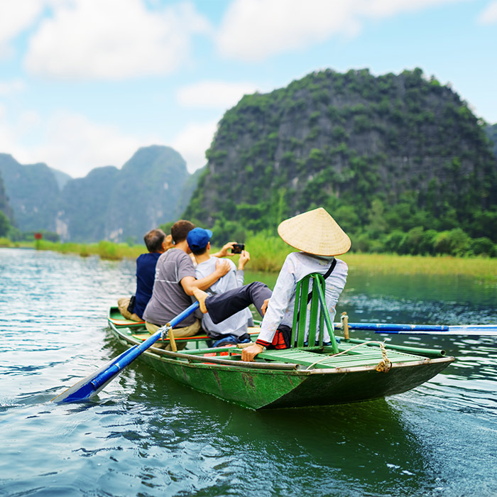 Tourists in Vietnam on boat