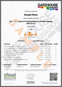 Example TEFL Diploma Certificate