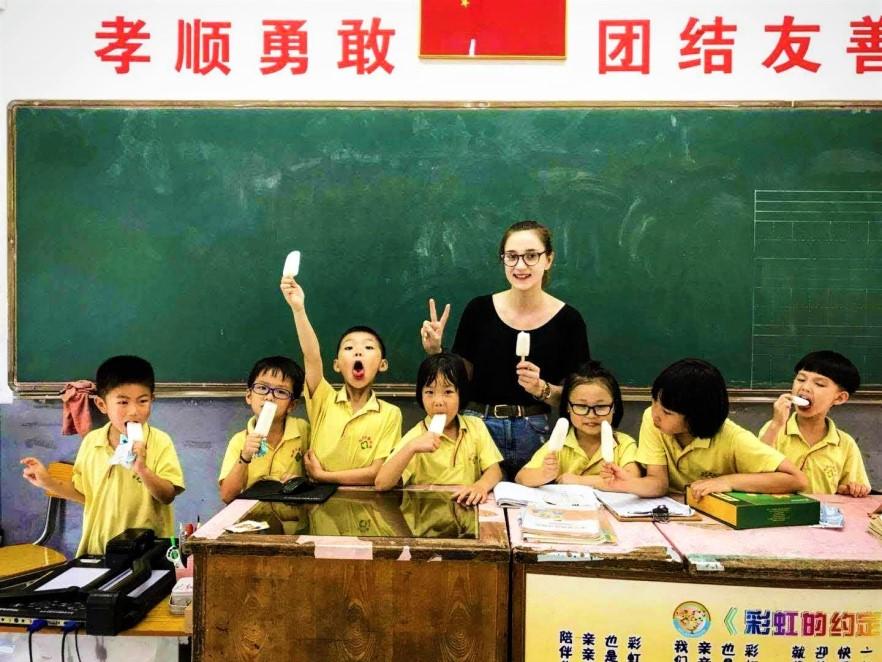 TEFL teacher with her primary school class