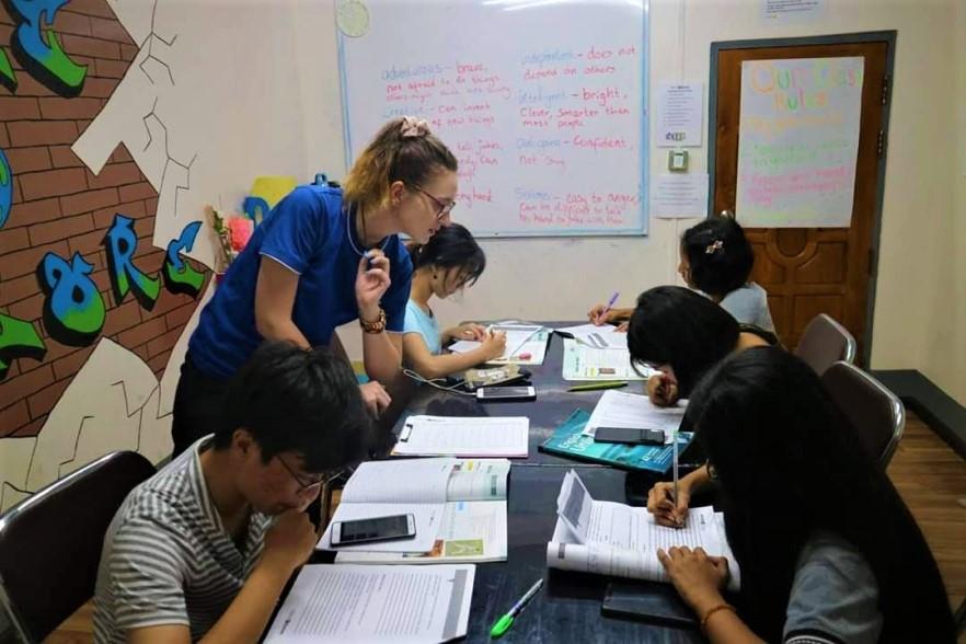 TEFL teacher teaching her middle school class